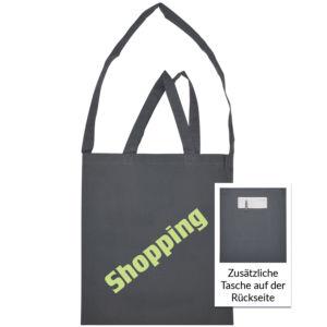 Baumwolltasche mit 2 kurzen Griffen, 1 Umhängeschlaufe und Tasche auf der Rückseite