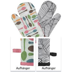 Grillhandschuhe mit All-Over-Print und Aufhänger