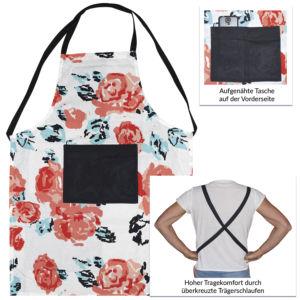 Baumwollschürze mit All-Over-Print und aufgenähter Tasche auf der Vorderseite