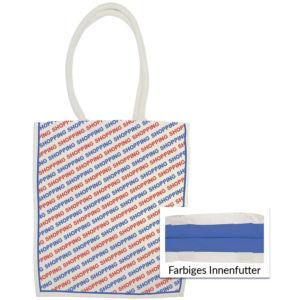 Canvastasche mit All-Over-Print und farbigem Innenfutter