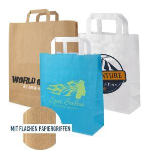 Papiertaschen mit flachen Papiergriffen